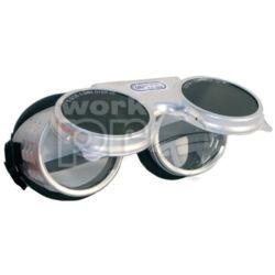 Revalux Védőszemüveg alumínium keret védett szellőzőlyukakkal, felhajtható, sötét kerek üveggel