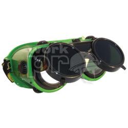 Revlux Védőszemüveg felhajtható kerek lencse, hőálló műanyag keret, pormentes szellőzőgombok