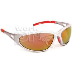 Freelux Védőszemüveg piros tükrös lencse, nagy szilárdságú ezüst keret, piros szárvégekkel