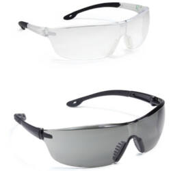 RHO védőszemüveg, víztiszta lencse, víztiszta/fekete szár és keret