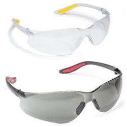 TAU védőszemüveg, víztiszta lencse, víztiszta rugalmas szár sárga puha szárvéggel