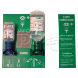 PLUM fali elsősegély szerelvény: 0,2l pH neutral + 0,5l normál palack, fali tartóval, tükörrel
