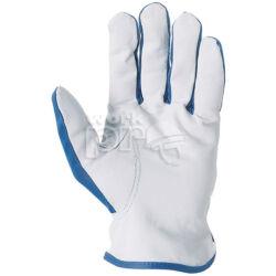 Védőkesztyű puha színsertés, kék nylon kézhát csuklógumival, 9