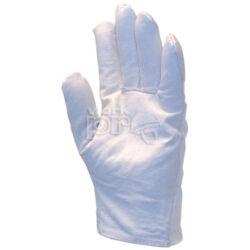 Védőkesztyű puha színsertés, fehér vászon kézhát csuklógumival, 9