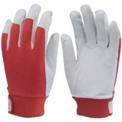 Védőkesztyű puha színsertés, piros vászon kézhát, elasztikus, állítható csuklórész, 7