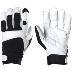 Kecskebőr sofőrkesztyű, poliészter kézhát, tépőzáras rugalmas mandzsetta, fehér/fekete, 8