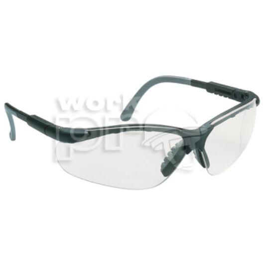 Miralux Védőszemüveg szürke/fekete keret, víztiszta karcmentes látómező, állítható, dönthető szár