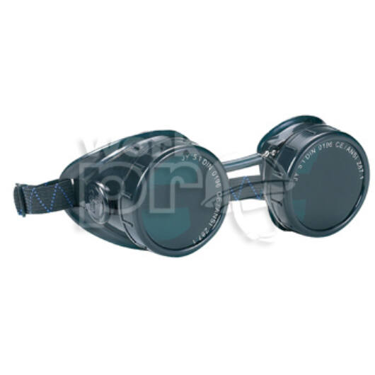 Duolux Védőszemüveg műanyag keret, gumipánt, cserélhető, kerek lencse