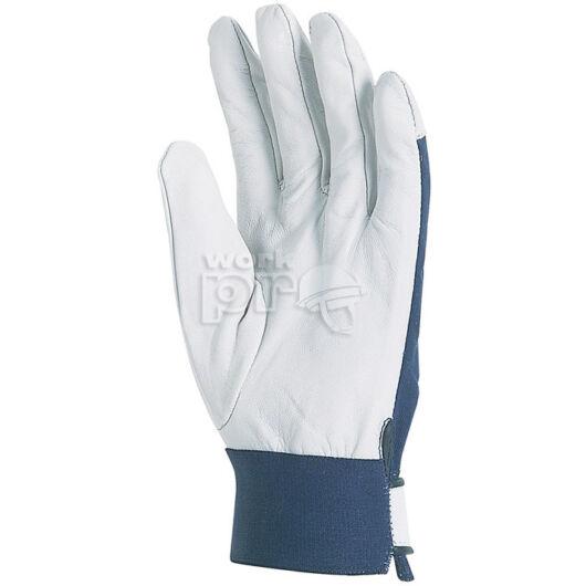 Kesztyű színkecskebőr, kék pamut kézhát, elasztikus csuklórész tépőzárral, 8